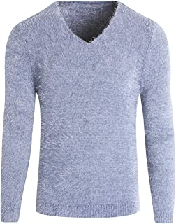 Chunmei Pullover Men Tops Long-Sleeved V-Neck Slim Fit Solid Color Soft Comfortable Warm Plush Sweatshirt Autumn Winter Ne...