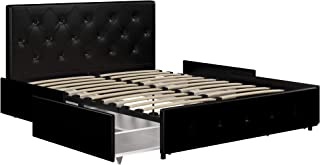 DHP Dakota Upholstered Platform Bed with Storage Drawers, Black Faux Leather, Queen
