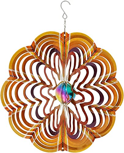 wholesale Sunnydaze Decor Garden Wind Spinner, 3D wholesale Reflective Whiligig with Outdoor Hanging wholesale Hook, Gold Dust sale