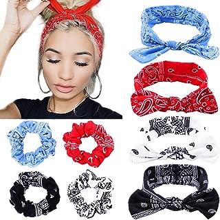 Boho Bow Bandana Headbands for Women Cotton Bandana Hair Scrunchies Flower Printed Turban Rabbit Ear Headwraps Hair Band, 8 Pcs