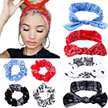 Boho Bow Bandana Headbands for Women Cotton Bandana Hair Scrunchies Flower Printed Turban Rabbit Ear Headwraps Hair Band, 8 Pcs