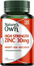 Nature's Own High Strength Zinc 30mg - Skin and Immune System Health - For Minor Wound Healing