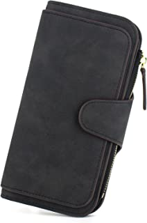 Sumgogo Wallets for Women Leather Trifold Slim Wallet RFID Blocking 16 Card Lady Zip Clutch, Black,
