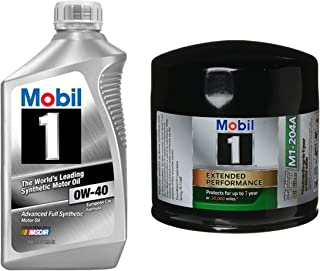 Mobil 1 0W-40 Full Synthetic Motor Oil, 1-Quart Bundle M1-204A Extended Performance Oil Filter