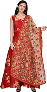 Woman's Net Dupatta with Embroidery.