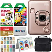 Fujifilm Instax Mini LiPlay Hybrid Instant Camera (Blush Gold) + Instant Film (20 Shots) + Rainbow Film (10 Shots) + 32GB ...