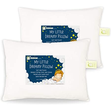 Toddler beds and car Rides Ideal for Daycare Made in USA Dreamtown Kids Toddler Pillow with 100/% Cotton Pillowcase 14x19 Butterflys Chiropractor Recommended Baby Cribs