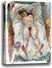 Canvas Print Wall Art - Woman Lying Down with Her Arms Raised - by Jules Pascin - Giclee Printed on Stretched Gallery Wrap - 12x14 inch