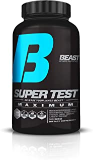 Beast Sports Nutrition - Super Test Maximum Capsules - 5 Powerful Test Boosters in 1 - Build Muscle - Lose Fat - Boost Energy - Increase Strength - Stamina - Boost Libido- 120 Caps