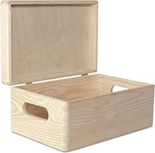 Creative Deco Boîte de Rangement Bois Grande | 30 x 20 x 14 cm (+/- 1 cm) | avec Couvercle et Poignées | Non Peinte | Cais...