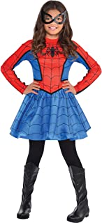 Red Spider-Girl Costume for Girls, Includes a Red and Blue Dress and a Matching Black Mask