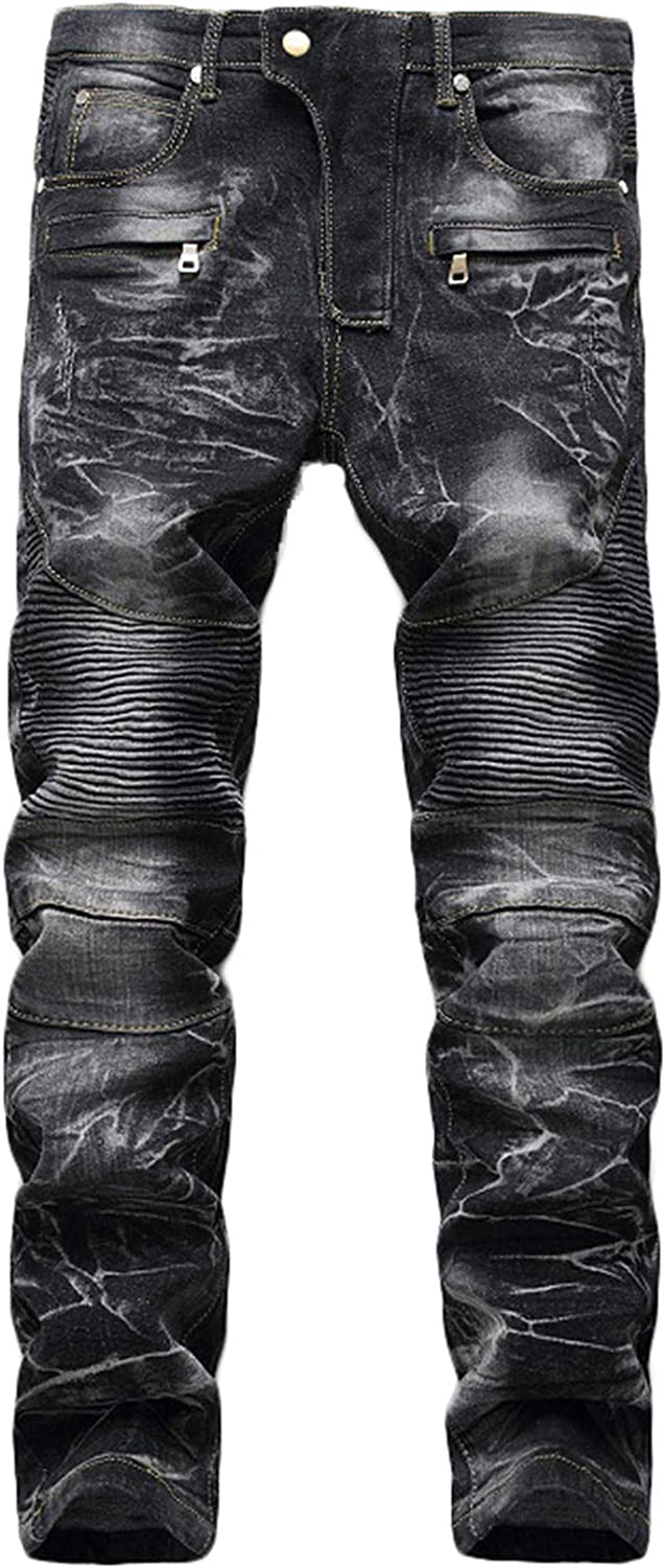 Andongnywell Men's Destroyed Special Campaign Slim Fit El Paso Mall Man Jeans Straight D Biker