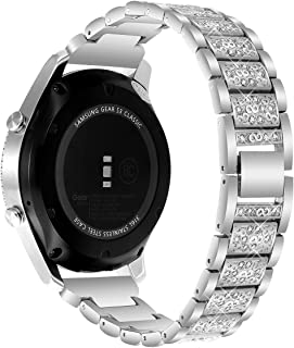 Gear S3 Frontier/Classic Band/Galaxy Watch 46mm Band, 22mm Watch Band Stainless Steel Metal Bracelet Strap for Samsung Gear S3 Frontier/S3 Classic Smartwatch/Galaxy Watch 46mm R800(Diamond Silver)