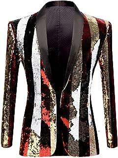 PYJTRL Mens Fashion Double-Side Color Red Gold Black White Plaid Sequins Blazer Suit Jacket