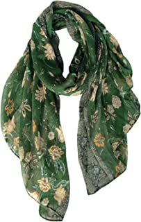 Lightweight Scarves Fashion Flowers Print Women Cotton Wrap Scarf