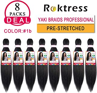 Pre Stretched Braiding Hair 8 Packs Yaki Texture Crochet Braiding Hair Extension Itch Free Hot Water Setting Low Tempreture Kanekalon Synthetic Fiber (16