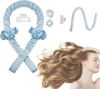Women Heatless Curling Rod Headband, No Heat Curl Ribbon with Hair Clips and Scrunchie, Sleeping Curls Silk Ribbon Hair Ro...