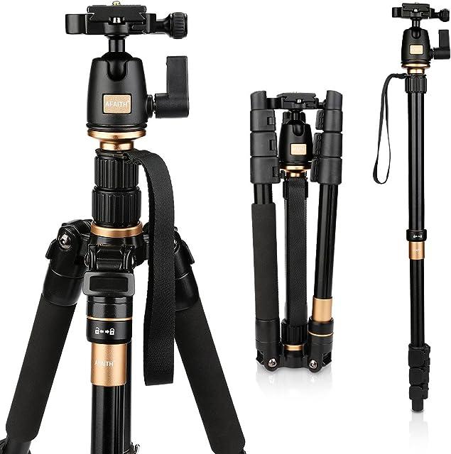 AFAITH Profesional Trípode con rotula de magnesio cámara de aleación de aluminio trípode Monopod y 360 rotula para cámara SLR Canon Nikon Sony Pentax trípode AF001