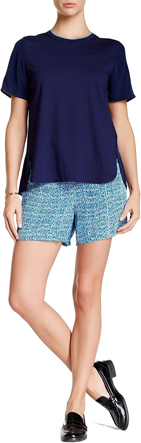 Vince Super sale Static Print Silk Sales for sale Charmeuse Blue Combo Color in Shorts