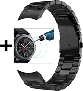 V-MORO No Gaps Strap Compatible with Gear S3 Frontier Bands/Galaxy Watch 46mm Band Men with Clips and Screen Protectors Black Metal Stainless Steel Bracelet for Samsung Gear S3/Galaxy Watch 46mm Watch