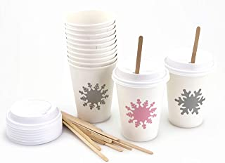 Pink Snowflake Paper Cups - 12 Set Baby Shower Birthday Party Supplies