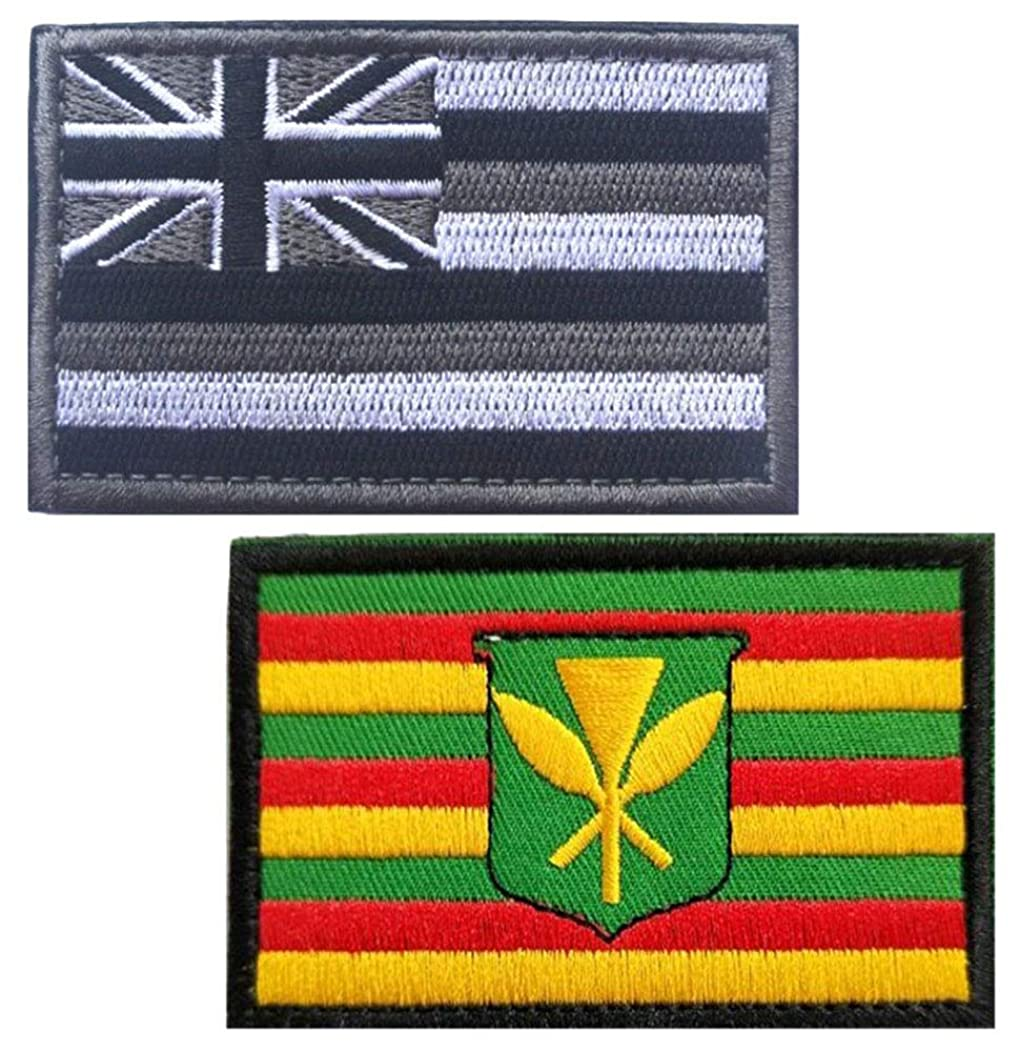 Embroidery USA Flag and Hawaii Flag Patch (Color 4)