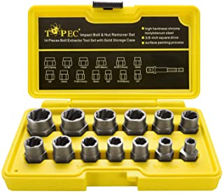 Topec Impact Bolt & Nut Remover Set 13+1 Pieces, Nut Extractor Socket, Bolt Remover..