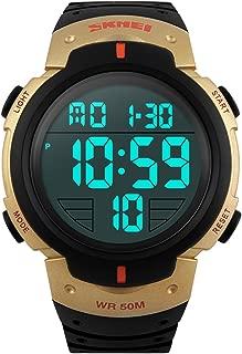 Fanmis Men's Simple Design Digital LCD Screen Black Rubber Strap Sports Wrist Watch