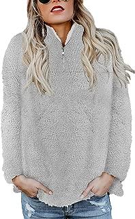 Womens Long Sleeve Zip Sweatshirt Fleece Pullover Outwear Coat Pockets(S-XXL)