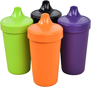 Re-Play Made in The USA 4pk No Spill Sippy Cups for Baby, Toddler, and Child Feeding - Orange, Lime, Amethyst, Black (Halloween+)