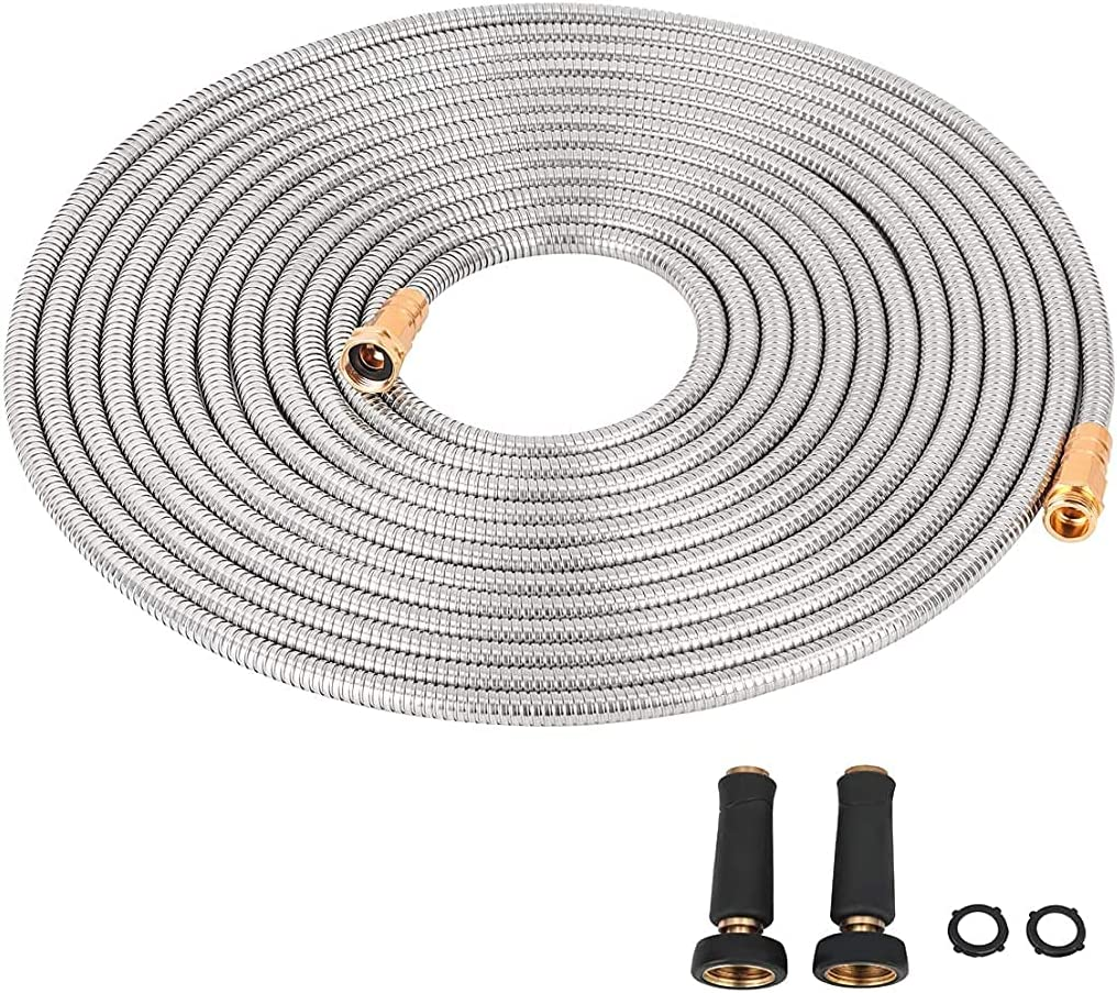 Cromtac Stainless Steel Garden Hose 304 Wide Diameter for Optimal Water Pressure-Ultra Durable with Solid Metal Portable & Lightweight Kink-Free (25)