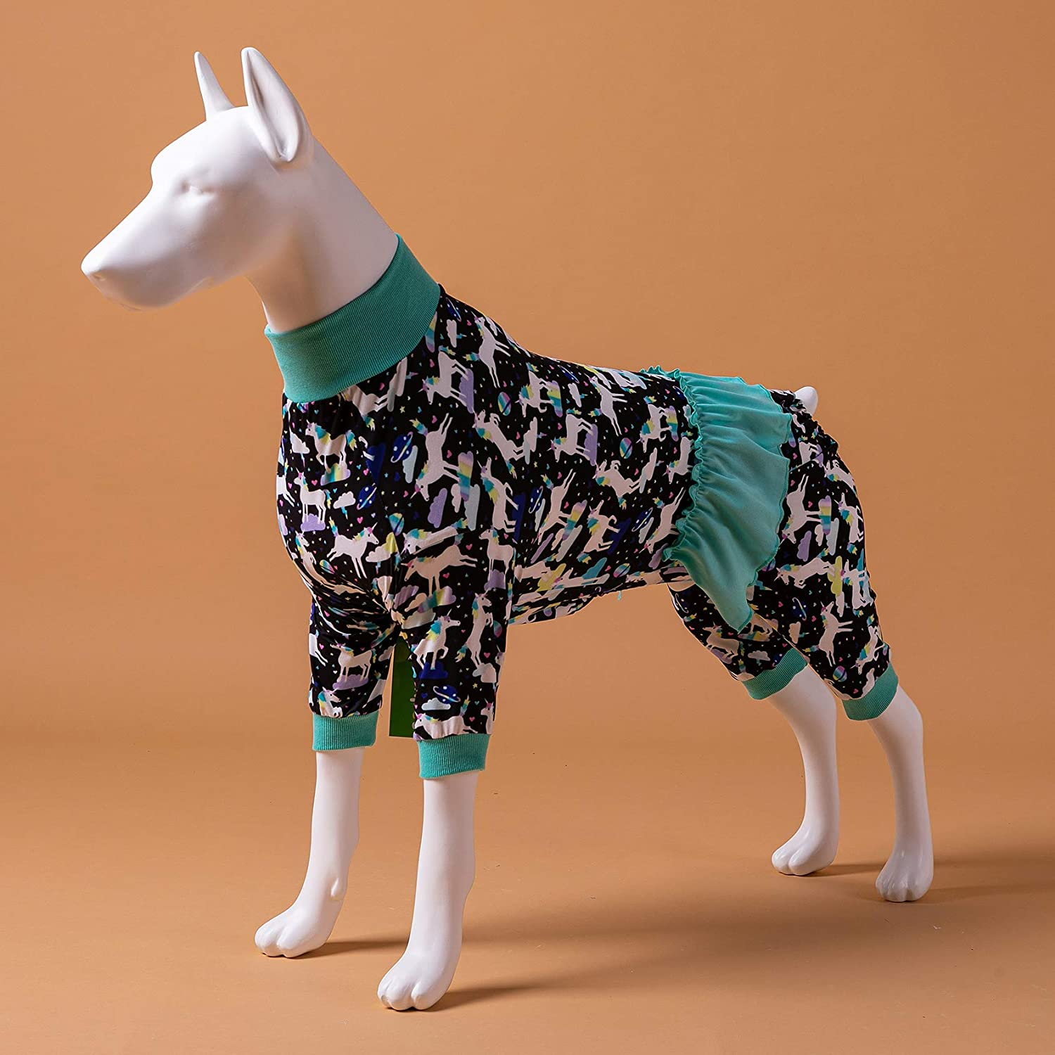 LovinPet Dog Unicorn Pajamas Dog Clothes Post Surgery Recovery for Pitbull Labrador Doberman Boxer//Unicorns in Space Black Prints//Lightweight Big Dogs Pullover Full Coverage Large Breed Dog Pjs