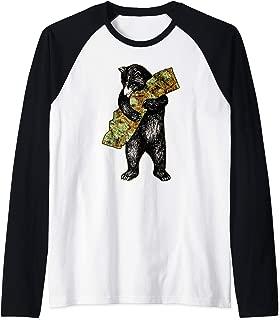 Marijuana I Love Weed California Shirt Art-Retro Cali Bear Raglan Baseball Tee