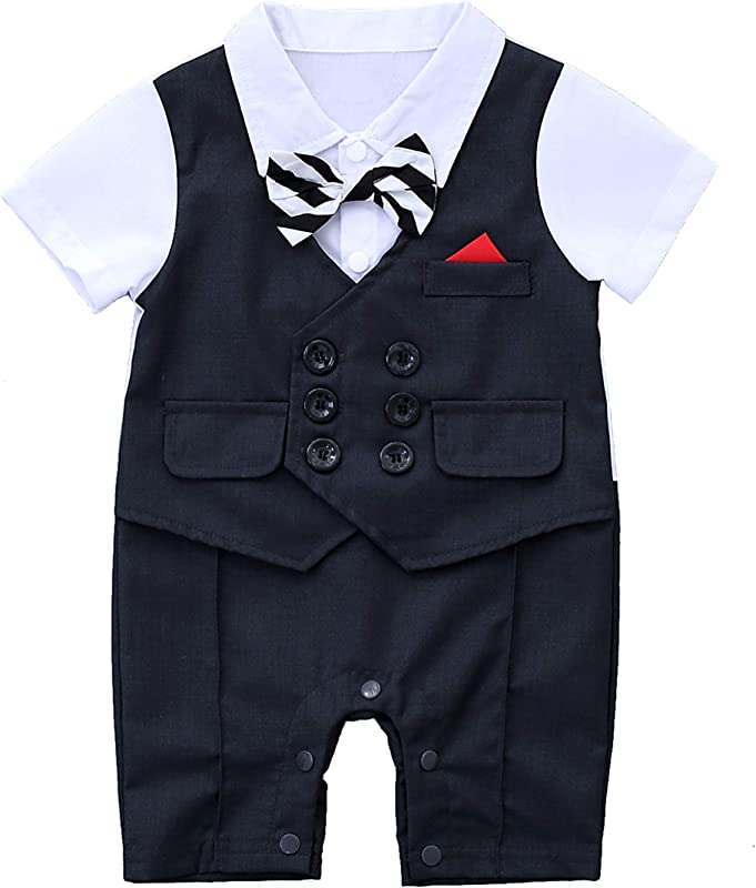 HMD Baby Boy Gentleman White Shirt Waistcoat Bowtie Tuxedo Onesie Jumpsuit Overall Romper