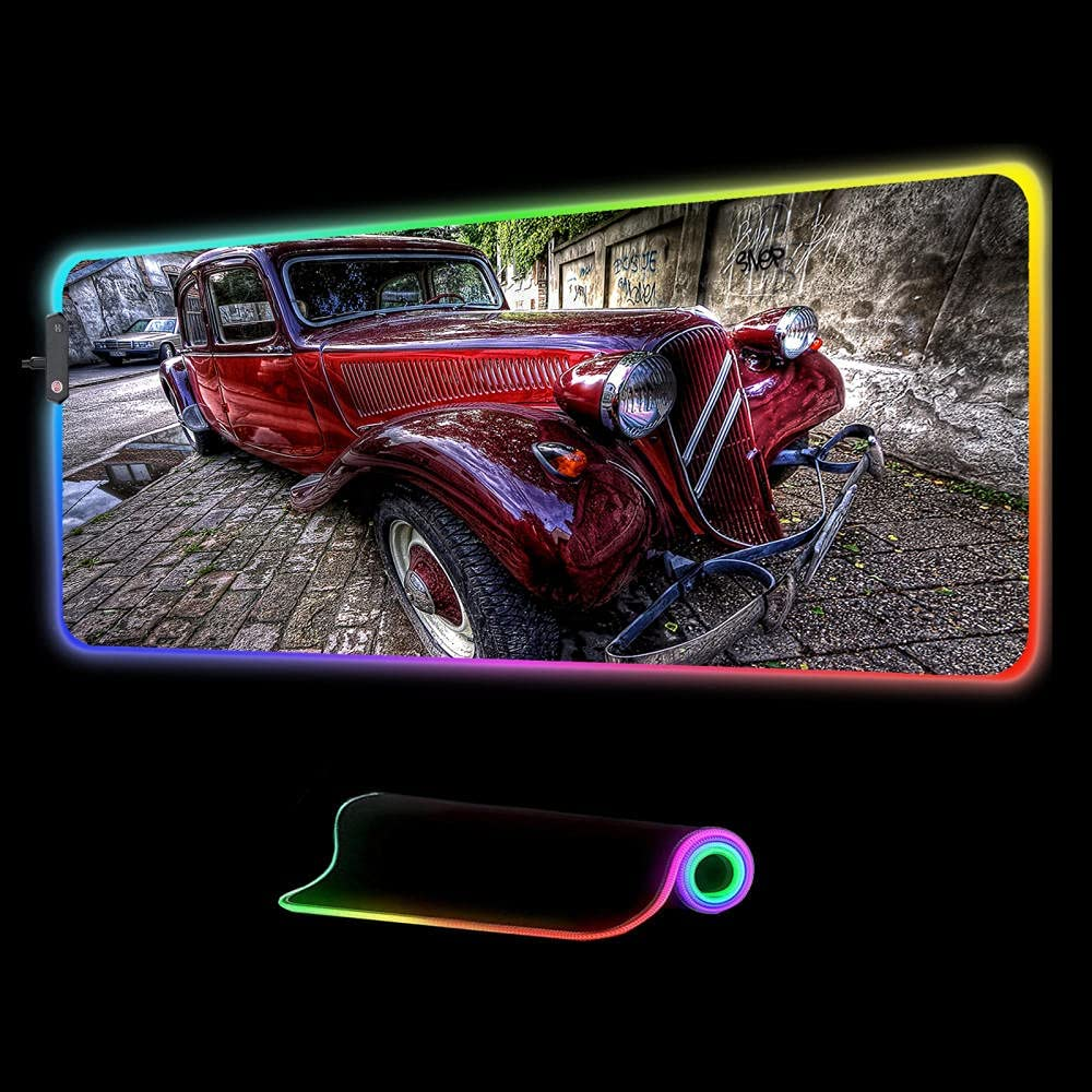 Mouse Pads Recommendation Retro Red Car Large Extended Pad Gaming RGB Complete Free Shipping LED