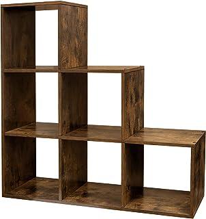 VASAGLE Estantería en Forma de Escalera, Estantería de Almacenamiento con 6 Cubos, de Madera, Ideal para Estudio, Sala de Estar y Dormitorio, Marrón Rústico, LBC63BX