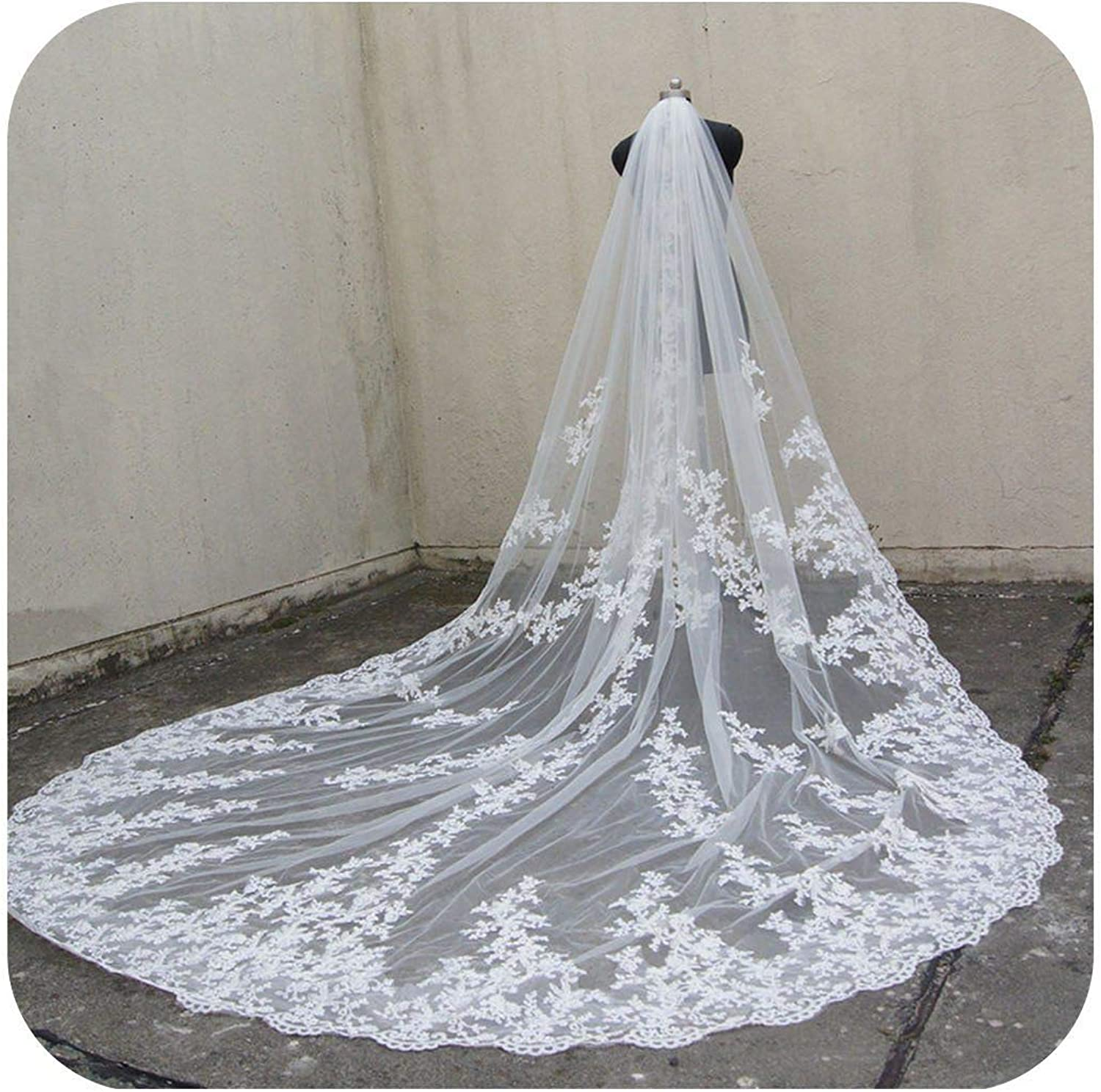 110 long, 118  wide 1 layer lace applique wedding veil Cathedral length bridal veil with comb,Marfil,300 cm