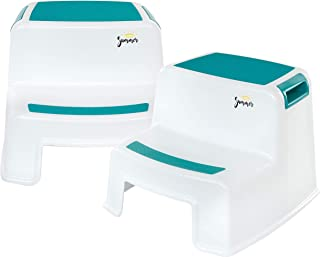 2 Step Stool for Kids (2 Pack)   New Teal Color   Dual Height Toddler Step Stool for Potty Training & Kid Step Stool for Kitchen and Bathroom Sink   Slip Resistant Grip for Safety   - By Ashley Summer