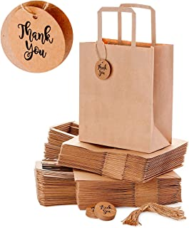 OSpecks Brown Kraft Paper Shopping Bags Bulk with Handles and Thank You Tags for Retail Business, Merchandise, Goodies, Appreciation Gifts, Trade Fair, Craft Shows, Qty 50 Pcs, Medium 8x4.75x10 Inches