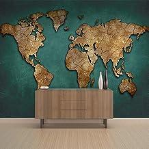 Papel Tapiz 3D Premium Art Print Fleece Mural De Pared Decoración Póster Imagen Diseño.-Mapa Del Mundo-Tela No Tejida Mate...