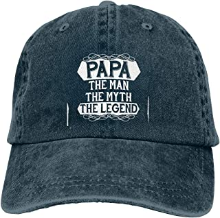 72d5cc47 Papa The Man The Myth The Legend Unisex Baseball Cap Cotton Denim Cool  Adjustable Sun Hat