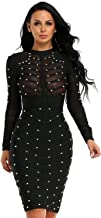 Hego Women's Mesh Studded Long Sleeve Bandage Party Dress H1577