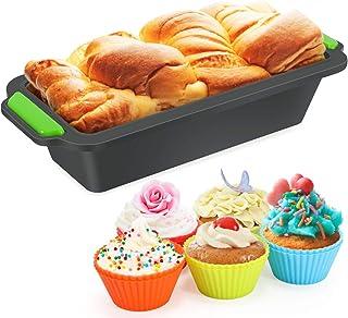 Silicona para Pan-Moldes de Panadería Tostadas Rectangular,Molde Antiadherente para Pan, Bizcochos y Tostadas +10Pcs Moldes de Horneado