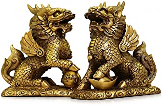 Feng Shui Set of Two Golden Brass Chi Lin/Kylin Wealth Prosperity Statue + Set of 10 Lucky Charm Ancient Coins on Red String, Home Decoration Attract Wealth and Good Luck(2.6