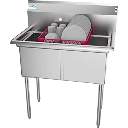 """KoolMore - SB151512-N3 2 Compartment Stainless Steel NSF Commercial Kitchen Prep & Utility Sink - Bowl Size 15 x 15 x 12"""", Silver"""