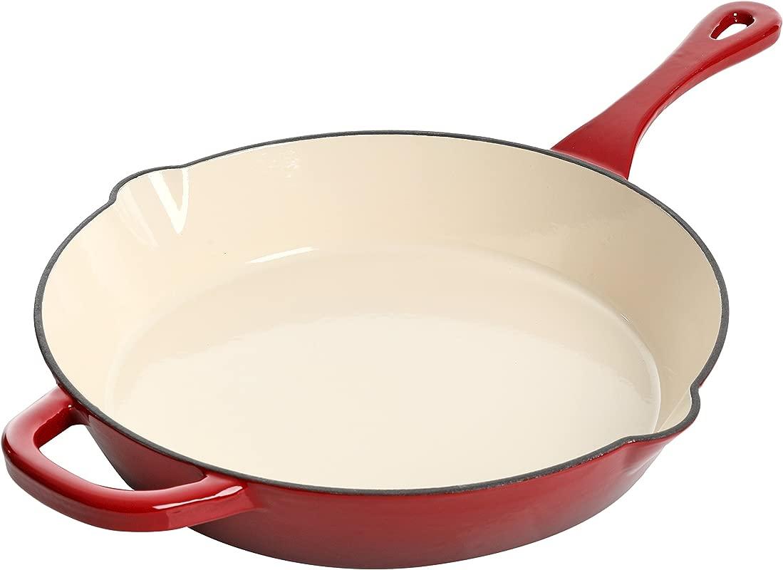 Crock Pot 111986 01 Artisan 12 Inch Enameled Cast Iron Round Skillet Scarlet Red