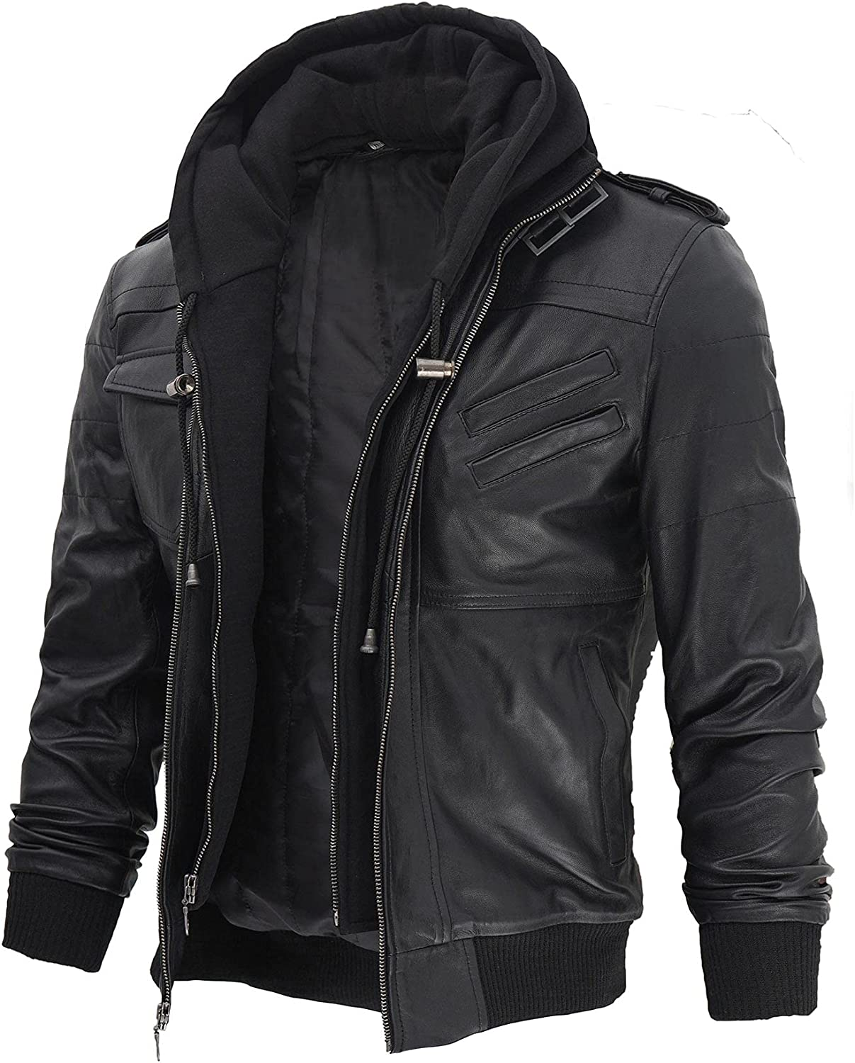 Decrum Leather Jackets for Mens Motorcycle Bomber Style with Removable Hood