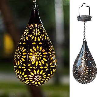 BOAER Hanging Solar lights Outdoor Garden Boho LED Flower Waterproof Decorative Metal Light for Porch Garden Outdoor