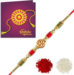 YouBella Rakhi and Greeting Card Combo for Brother (Multi-Colour) (YBRK_76)