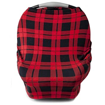 Car Seat Cover for Babies, Nursing Cover, Carseat Canopy - Red Plaid: image